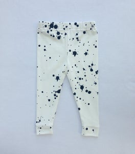 Image of ORGANIC COTTON BLACK + WHITE Splatter CUFFED LEGGINGS
