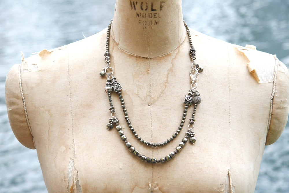 Double Layer Pyrite Necklace