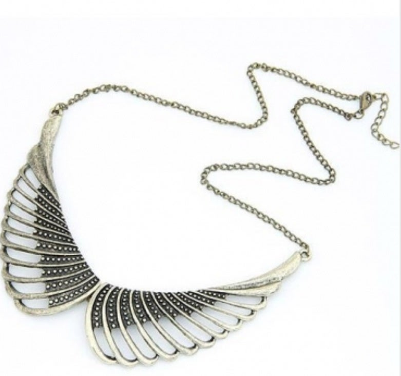 Image of Vintage Hollow Wings Metal Necklace