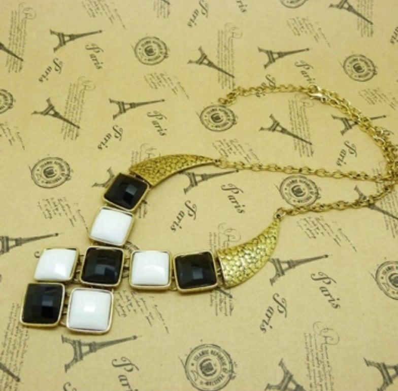 Image of Vintage White-Black Patch Square Gem Necklace