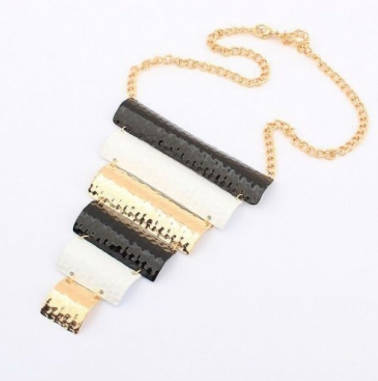 Image of Colorblock Geometry Shape Metal Necklace