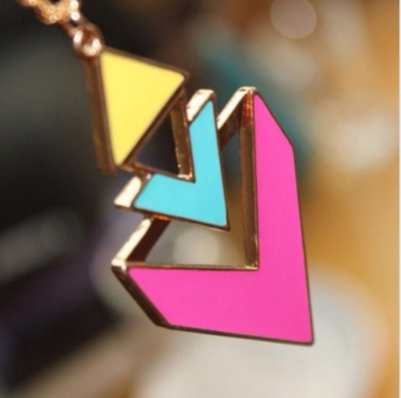 Image of Colorblock Geometry Triangle Necklace