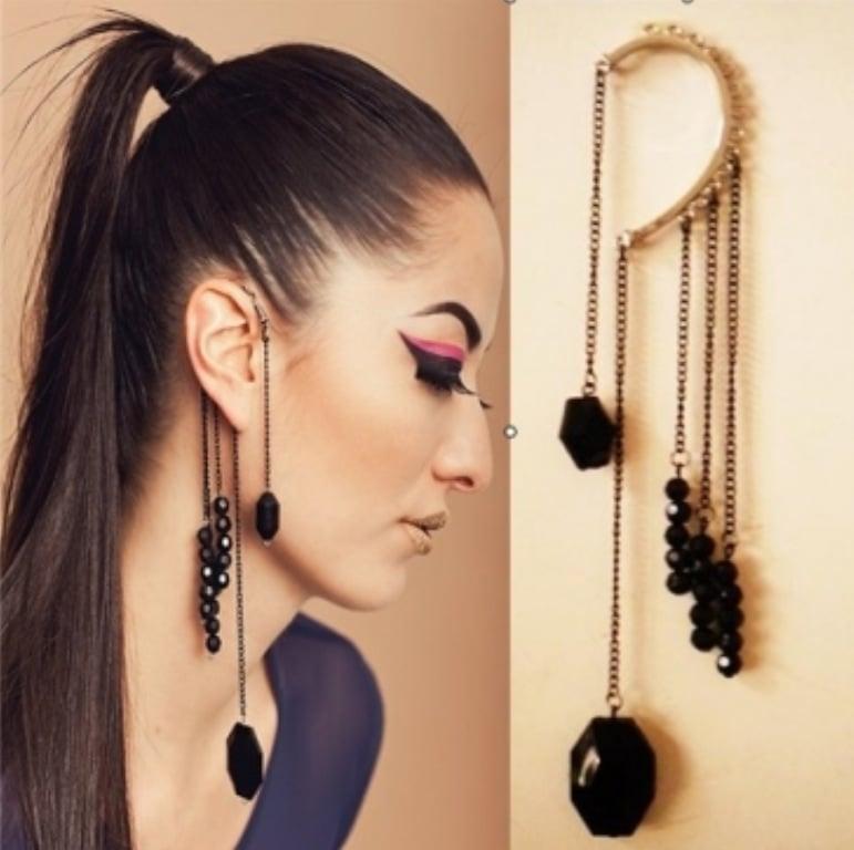 Image of Vintage Black Bead Tassels Hang Earrings