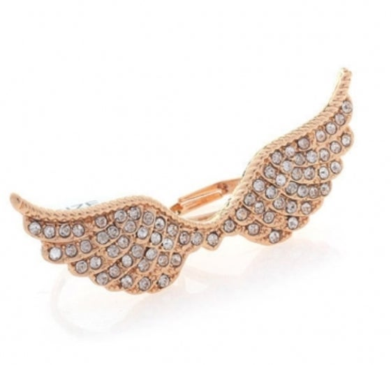 Image of Golden Diamond Embellished Wings Ring