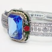 Image of Antique Art Deco Enamel Pearl Filigree Bracelet Bangle