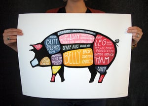 "Extra Large ""Use Every Part of the Pig"" butchery poster 17 x 22 by Alyson Thomas of Drywell Art. Available at shop.drywellart.com"