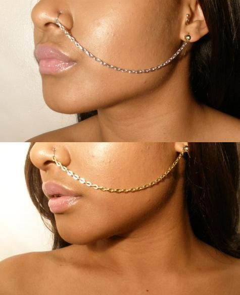 Image of The Weeknd Adjustable Ear to Nose Chain Jewelry ( 2 PACK )