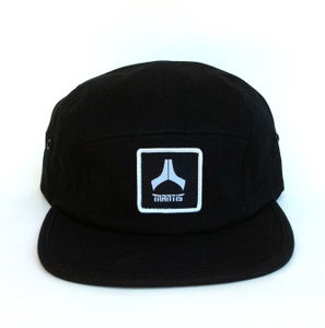 Image of Black 5 panel snapback hat