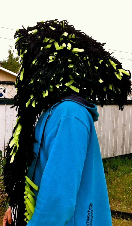 Image of Shamb Hood Black with Lime Green