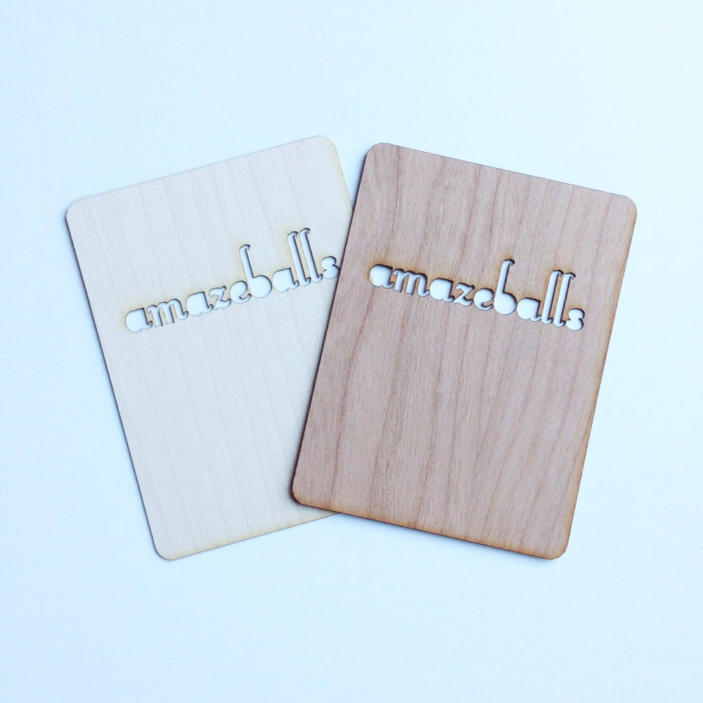 "Image of Amazeballs 3""x4"" Wood Veneer Card"