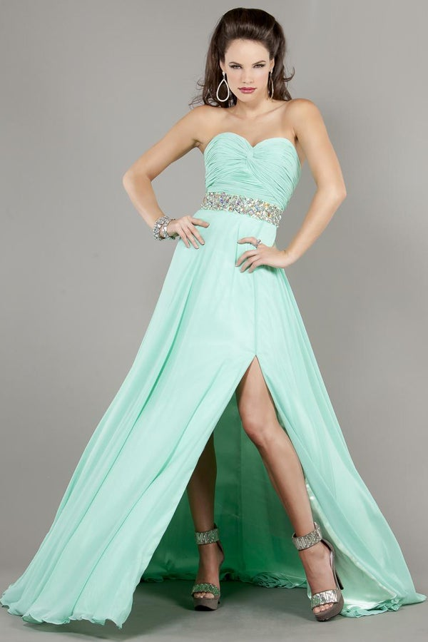 Strapless Mint Green Chiffon Long Prom Dress Jsld0303