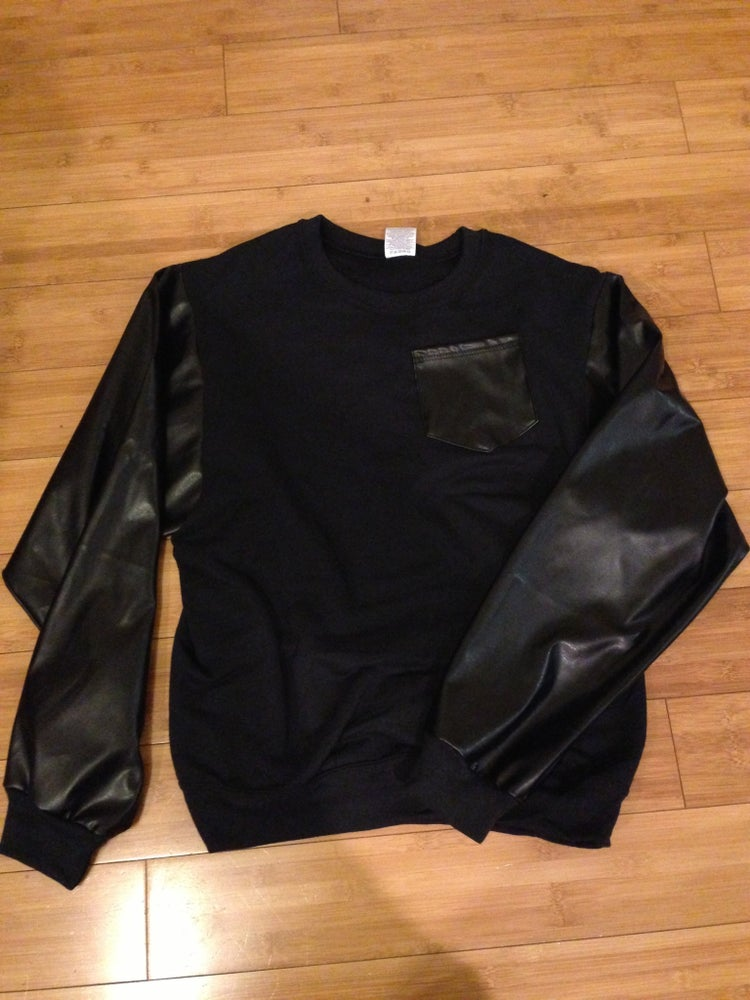 Image of Leather pocket/sleeve sweater Crewneck