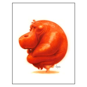 "Image of ""Le Penseur"" (The Thinker) Hippo Print"