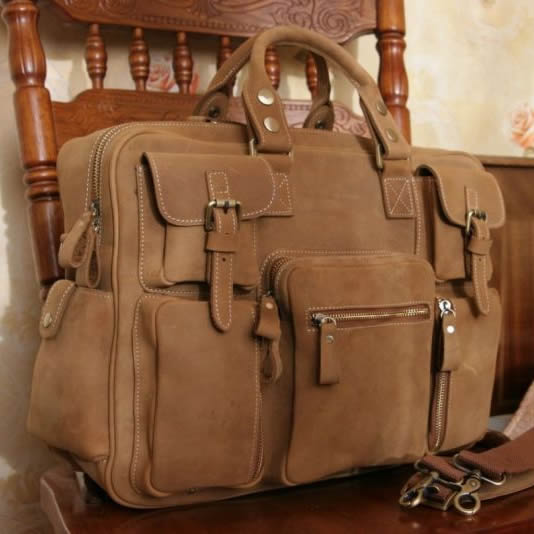 Image of Vintage Handmade Antique Leather Business Travel Bag / Messenger / Duffle Bag / Weekend Bag (n62-5)