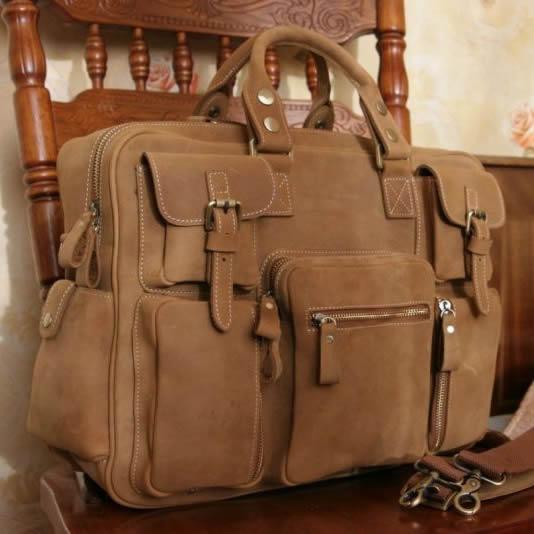 Image of Vintage Handmade Antique Leather Business Travel Bag / Messenger / Duffle Bag / Weekend Bag (n62-5)