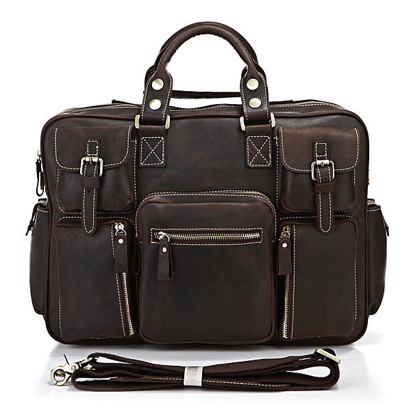 Image of Vintage Handmade Antique Leather Business Travel Bag / Messenger / Duffle Bag / Weekend Bag (n62-3)