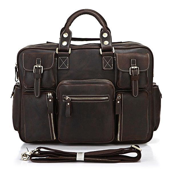 Image of Vintage Handmade Antique Leather Business Travel Bag / Messenger / Duffle Bag / Weekend Bag (n62-3)