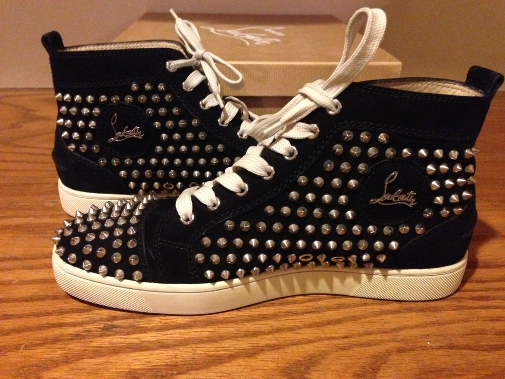online store a34d4 3f95c Men's Authentic Christian Louboutin black velour spike sneakers