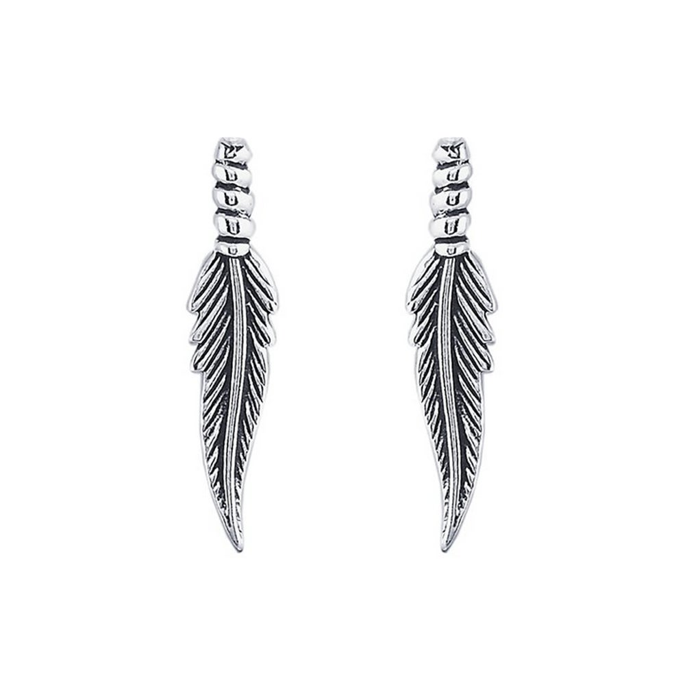 Image of Feather Stud Earrings in Sterling Silver