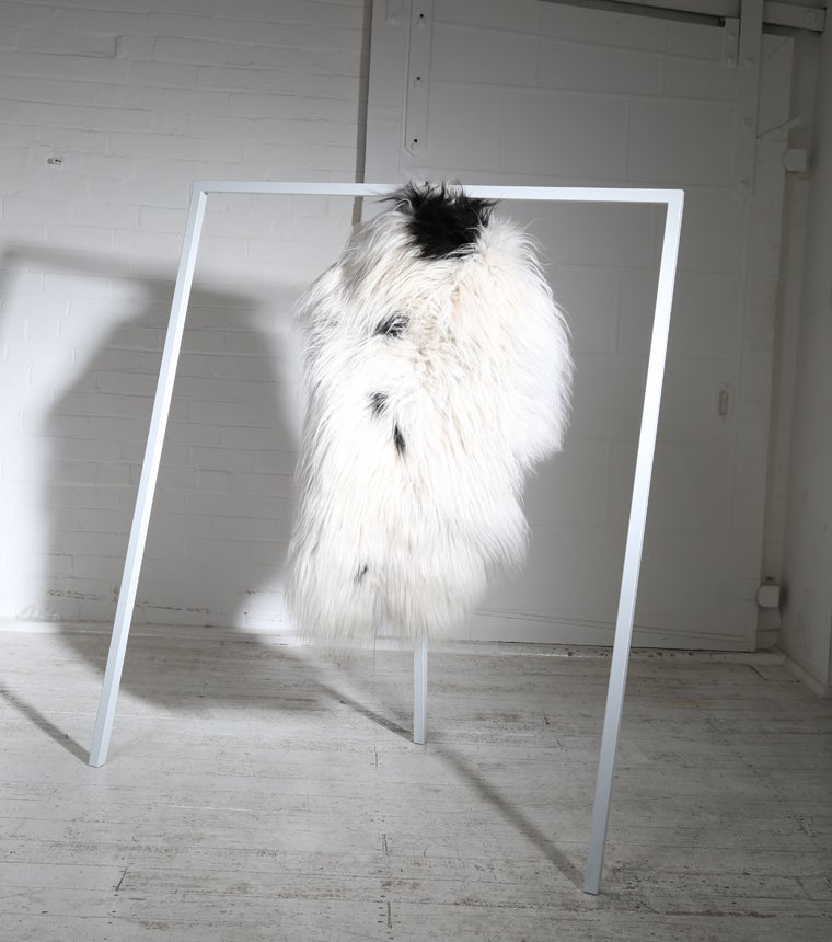 Image of WHITE AND TAN SPOTTED ICELANDIC SHEEPSKIN