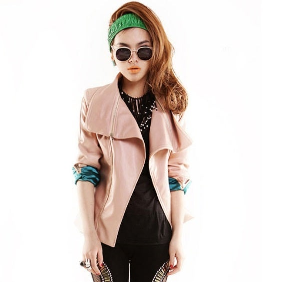 Image of Pink Turndown Collar Leather Jacket