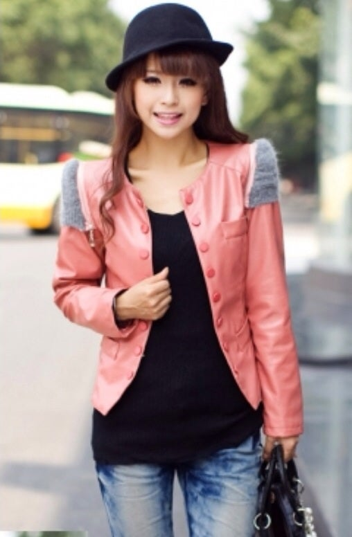 Image of Dark Pink Button/Zipper Leather Jacket