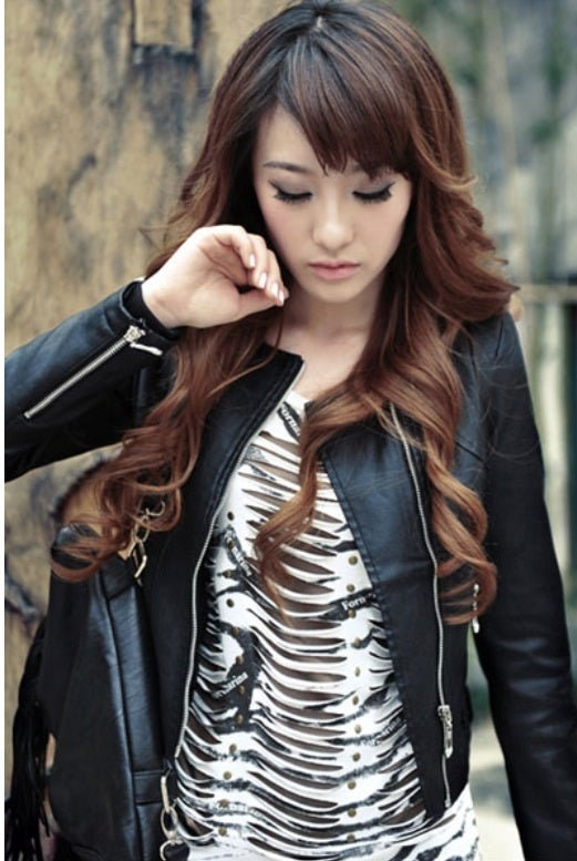 Image of Chain Shoulder Leather Jacket