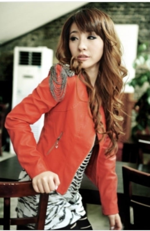 Image of Red Chain Shoulder Leather Jacket
