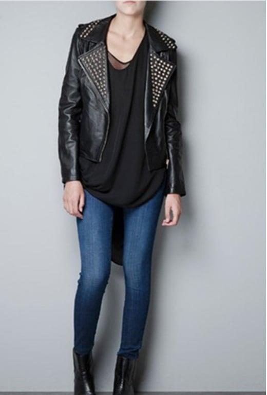 Image of Embellished Turndown Collar Black Leather Jacket
