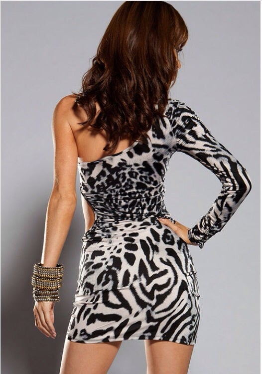 Image of Gray Leopard Print Mini Dress
