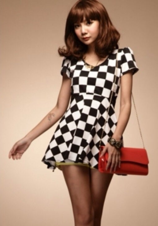 Image of Checkerboard Cotton Waist Mini Dress