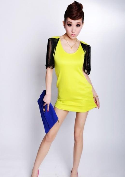 Image of Tassels Embellished Sheath Mini Dress