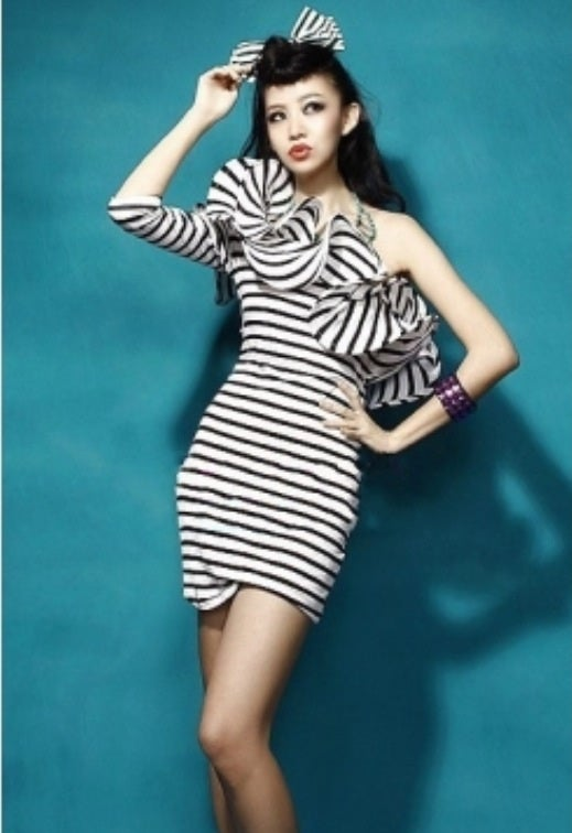 Image of Black and White Striped Ruffle Dress