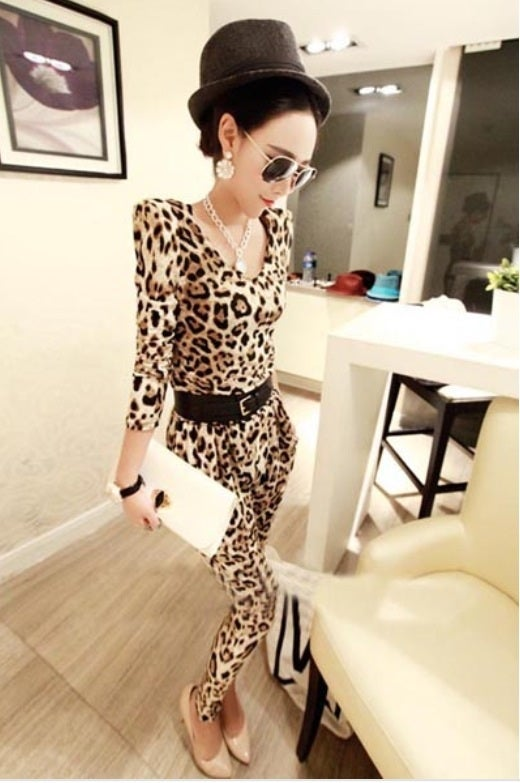 Image of Sexy Leopard Rayon Jumpsuit