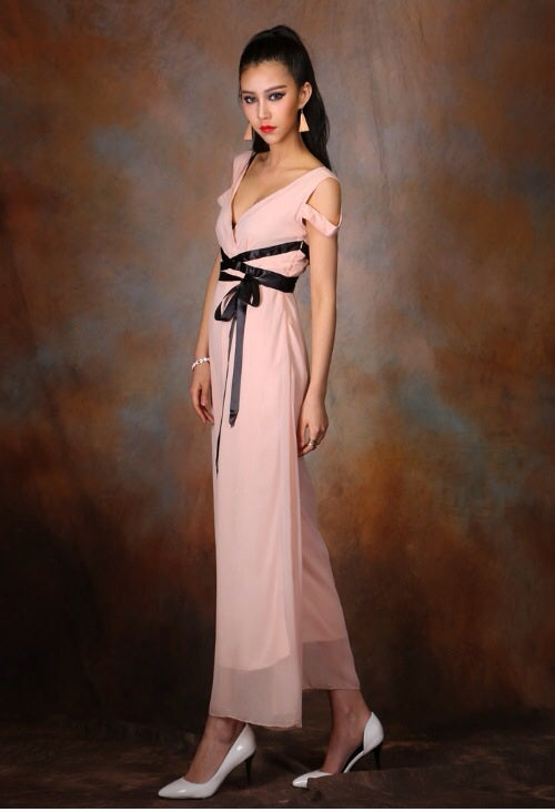 Image of Deep V-Neck Solid Chiffon Jumpsuit