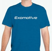 Image of Antique Sapphire Blue Exomotive Logo T-Shirt