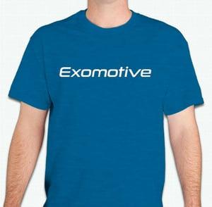 Image of Antique Sapphire Blue Exomotive Logo T-Shirt