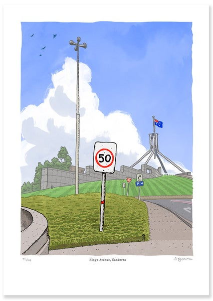 Image of Kings Avenue Canberra, limited Edition Digital Print