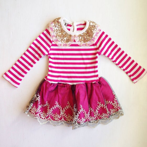 Image of Gold Collar Striped Tutu Dress (Pink)