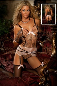 Image of OPEN BUST SILVER LACE CORSET TEDDY