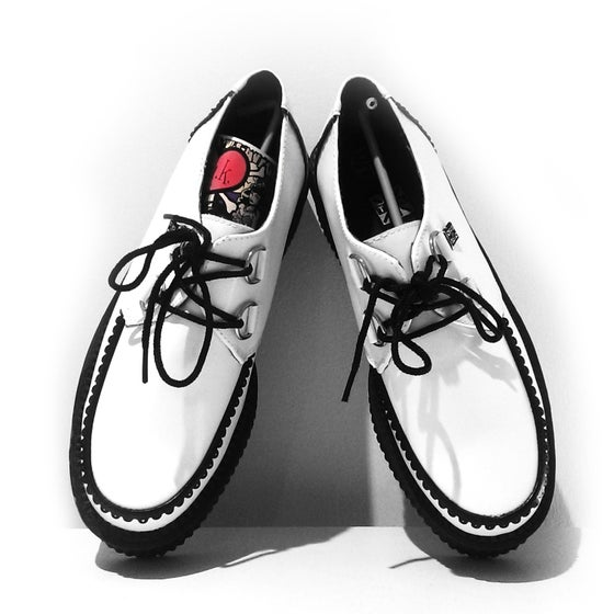 Image of BRAND NEW - T.U.K. ORIGINAL SHOES- White Leather with Black Interlace Mondo Sole Creeper