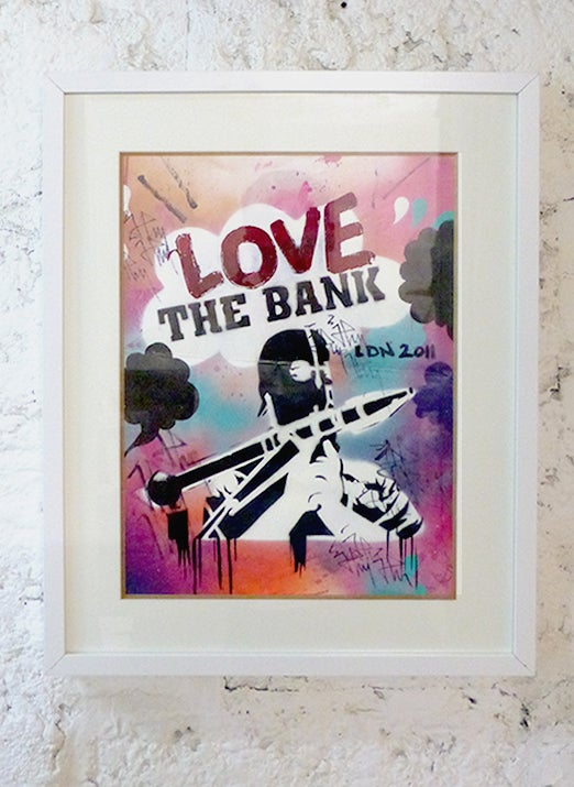 Image of RARE: LOVE THE BANK  // ON PAPER  LONDON 2011 FRAMED
