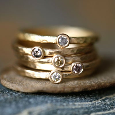 Image of 18K Brown Diamond Stacking Rings