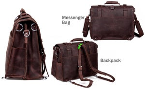 Image of Men's Extra Large Handmade Vintage Leather Travel Bag / Satchel - Backpack / Messenger (N53)