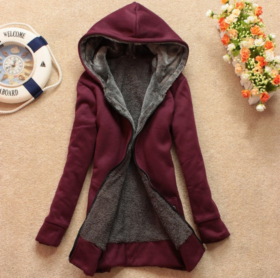 Image of Plus velvet long-sleeved hooded sweater coat loose JCHCB