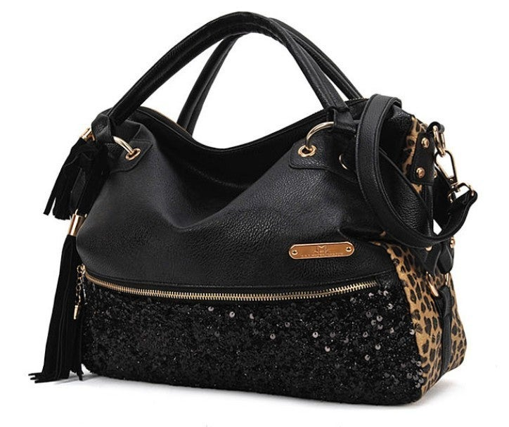 Image of Unique Tassels sequined leopard Printed Handbag