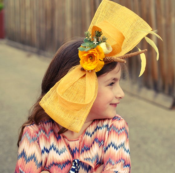 Image of Bright yellow bow fascinator