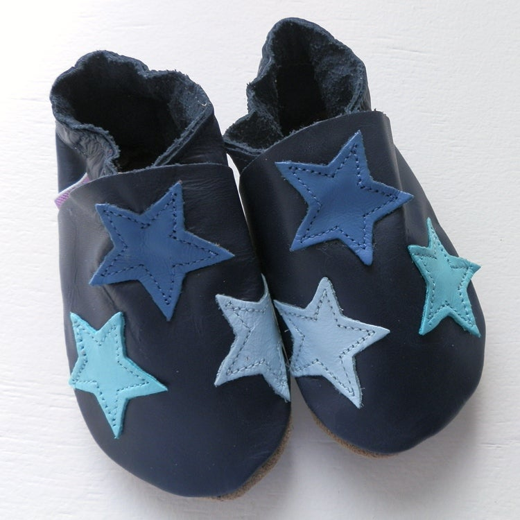 Image of Navy stars soft leather baby shoes