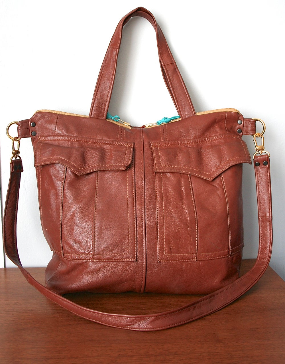 Image of Repurposed 70s Trench Leather Satchel Bag