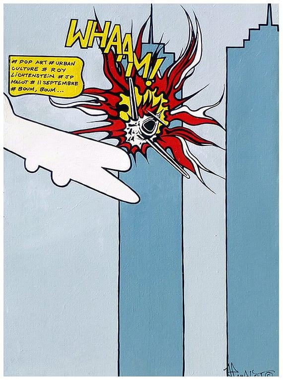 Image of #POP ART #URBAN CULTURE #ROY LICHTENSTEIN #JP MALOT #11 SEPTEMBRE #BOUM, BOUM ... 70x100 cm